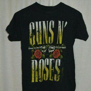 Guns N Roses Black Shirt Revolvers Rose Flowers S